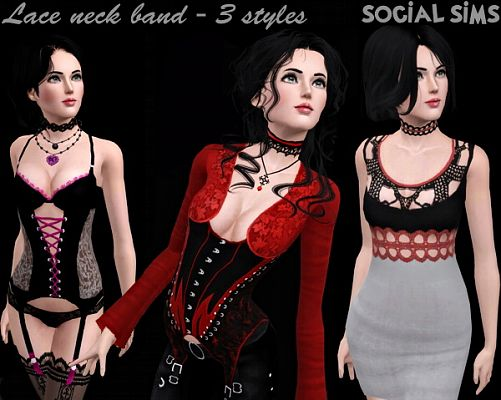 Sims 3 necklace, lace, band, accessory