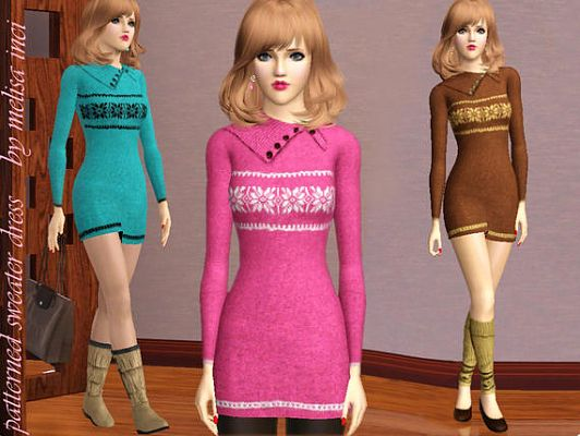 Sims 3 outfit, dress, sweater, fashion