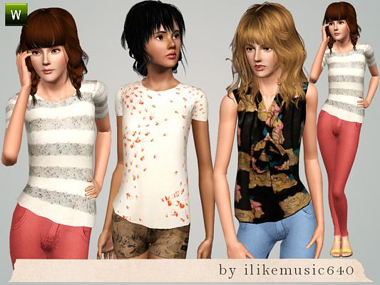 Sims 3 outfit, fashion, clothing, female, shirts