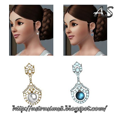 Sims 3 earrings, jewelry, accessories, pearl