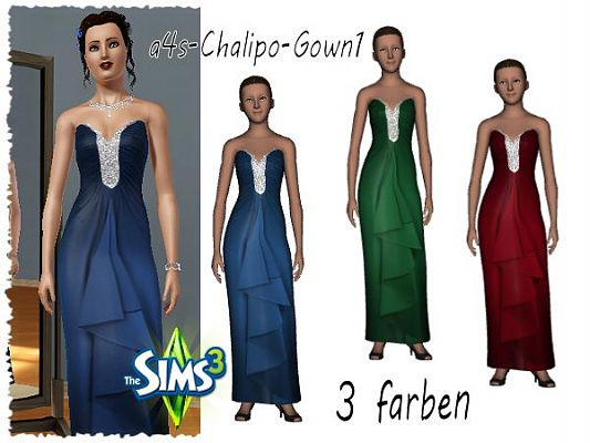 Sims 3 dress, gown, cloth, clothing, outfit, fashion