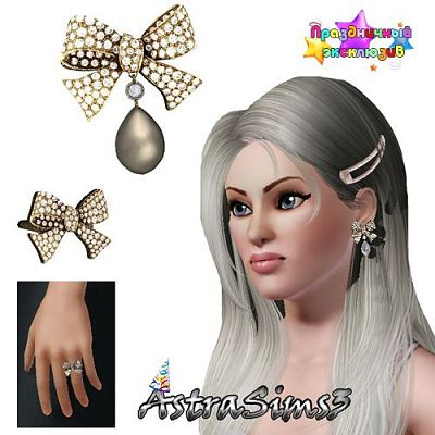 Sims 3 earrings, ring, set, jewelry