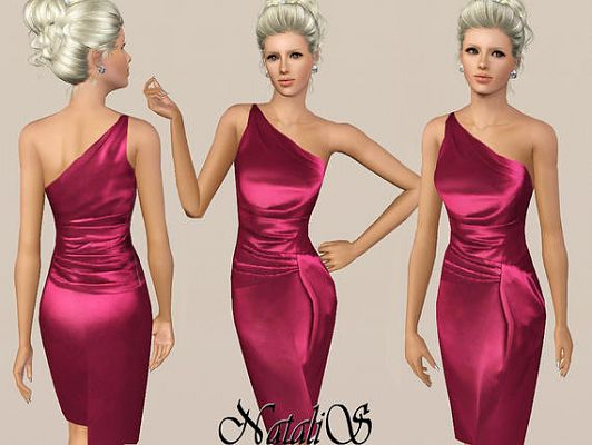 Sims 3 dress, cloth, clothing, outfit, fashion, satin