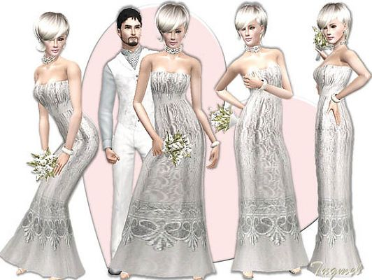 Sims 3 dress, gown, bride, wedding, outfit, clothing