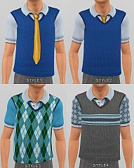 Sims 3 vest, top, knot design, male, clothing