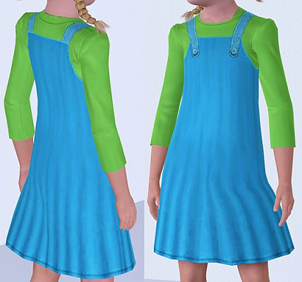 Sims 3 overall, dress, children, clothing