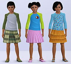 Sims 3 pullover, skirt, outfit, children