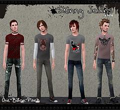 Sims 3 jeans, skinny, male, everyday