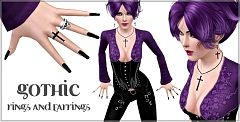 Sims 3 rings, earrings, accessories, jewelry, gothic