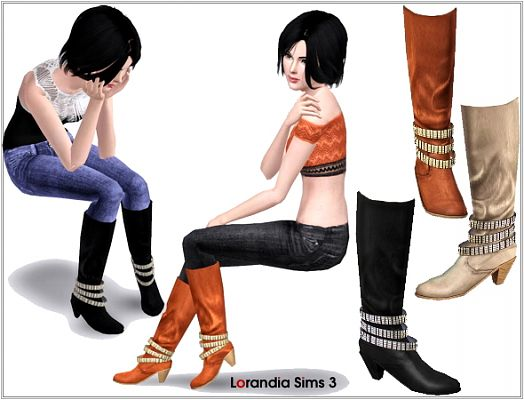 Sims 3 shoes, boots, leather, studd, straps, rock, glam, sims 3
