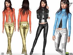Sims 3 outfit, set, fashion, pants, top, metallic, knit