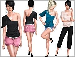 Sims 3 top, blouse, flared, sleeve, shoulder, clothes, fashion