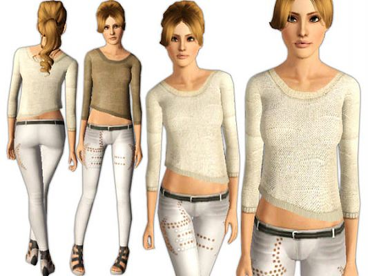 Sims 3 clothing, fashion, outfit, female, sweater