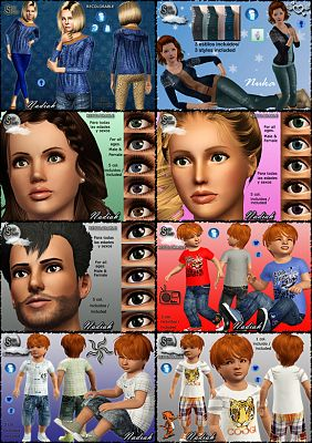 Sims 3 clothing, fashion, outfit, female, jeans, eyes
