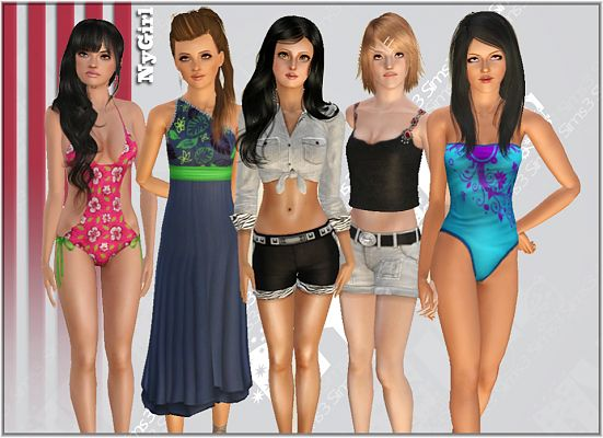 Sims 3 dress, fashion, clothing, female, swimwear