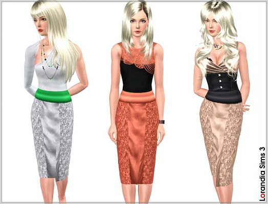 Sims 3 skirt, lace, satin, bottom, sims 3