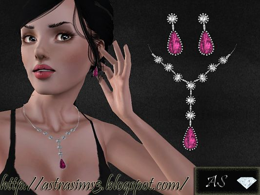 Sims 3 earrings, necklace, accessories, jewelry, female