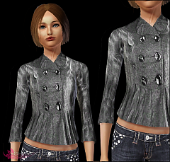 Sims 3 jacket, buttons, short, female, everyday