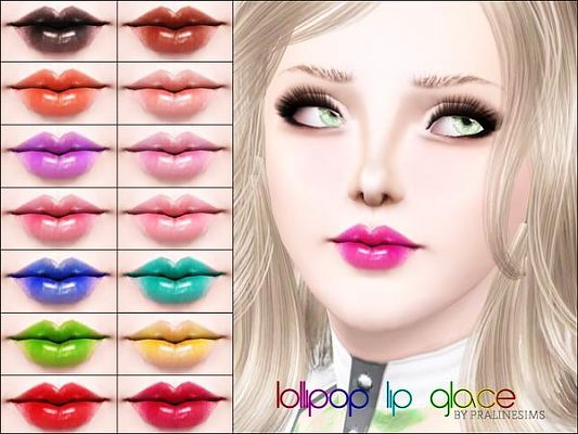 Sims 3 lip, lipstick, gloss, makeup