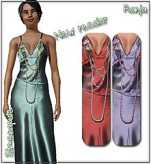 Sims 3 necklace, long, satin, gown