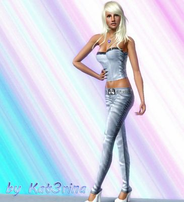 Sims 3 outfit, set, fashion, leather, pants, top