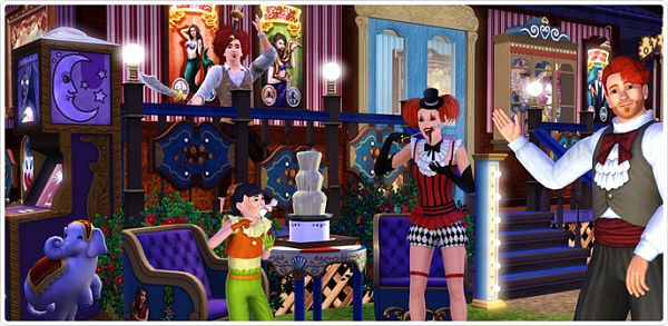 Sims 3 circus, set, clothes, hair, furniture