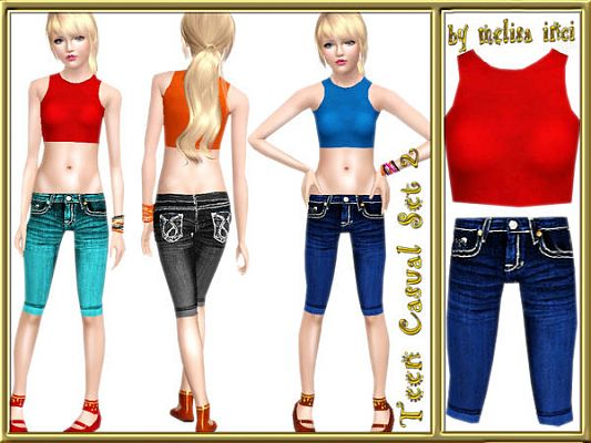 Sims 3 casual, set, clothes, denim, jeans
