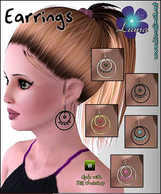 Sims 3 jewelry, earrings, flower