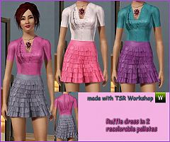 Sims 3 ruffles, necklace, flower detail