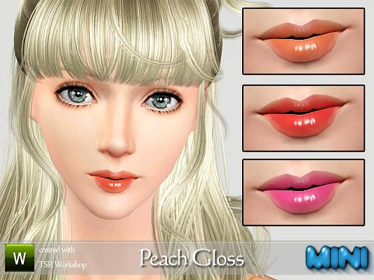 Sims 3 gloss, lips, male, makeup
