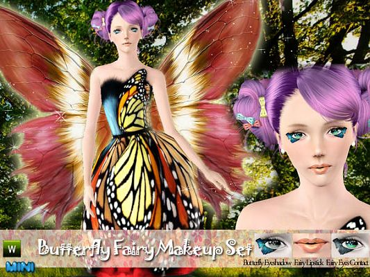 Sims 3 makeup, fairy, set, contact lenses, eyeshadow