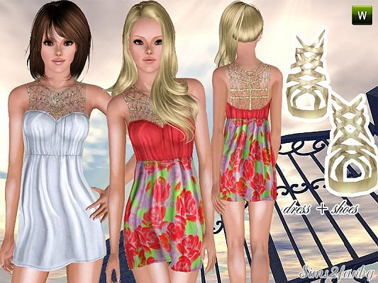 Sims 3 dress, fashion, clothing, casual, female, shoes, high heels