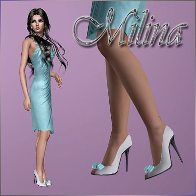 Sims 3 shoes, high heel, footwear, bow