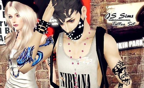 Sims 3 tatoo, accessories, female, male