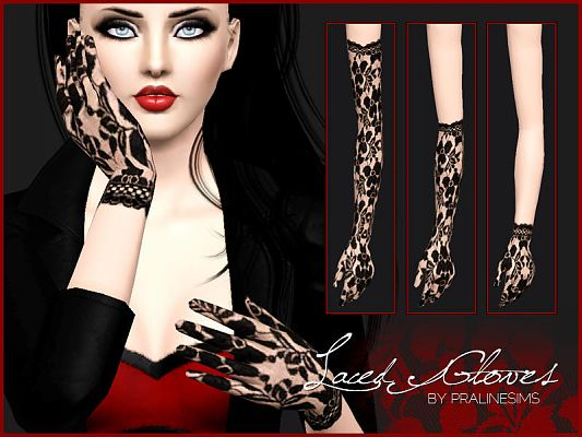 Sims 3 gloves, lace, female, accessories