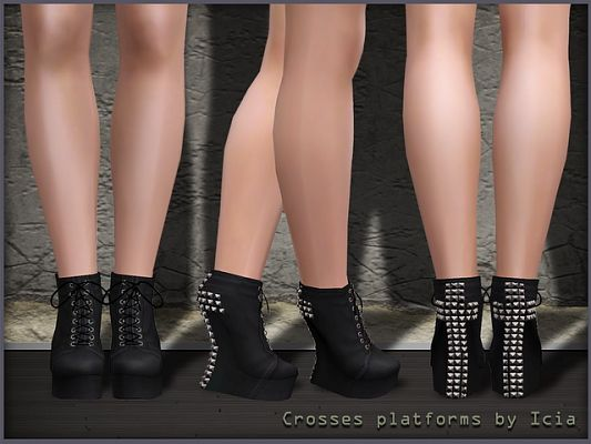Sims 3 shoes, studd, boots, cross