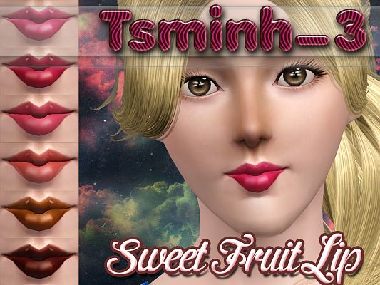 Sims 3 gloss, lips, lipgloss, female, makeup