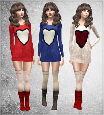 Sims 3 outfit, fashion, clothing, female, dress, sweater