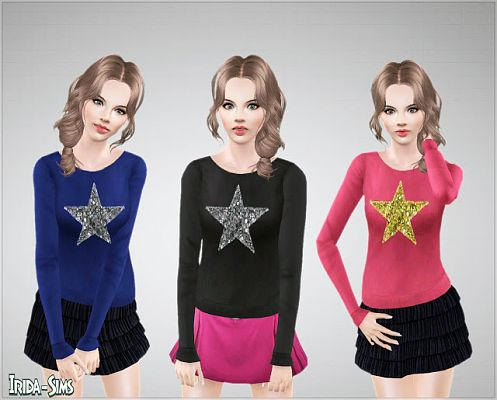 Sims 3 top, sweater, star, clothes