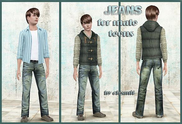 Sims 3 jeans, clothes, males