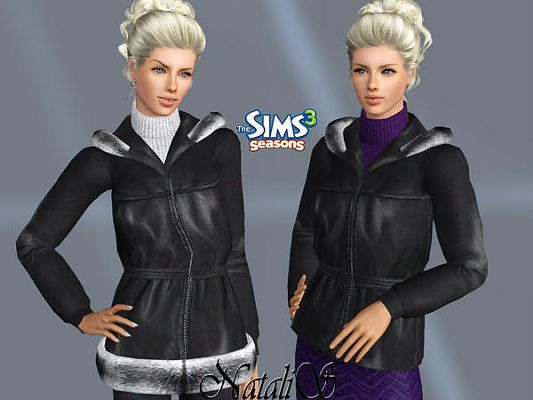 Sims 3 leather, jacket, fur, top