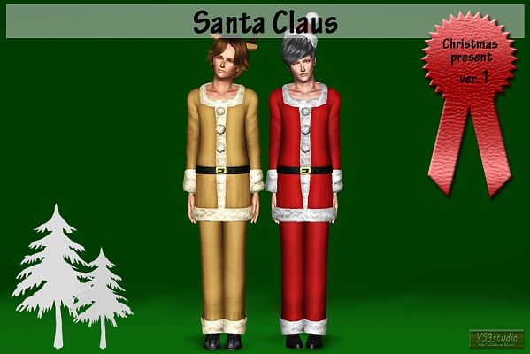 Sims 3 outfit, santa claus, christmas, clothes