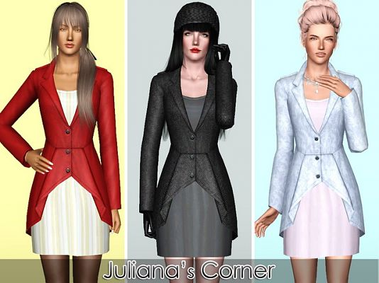 Sims 3 dress, cloth, clothing, fashion, outfit, coat