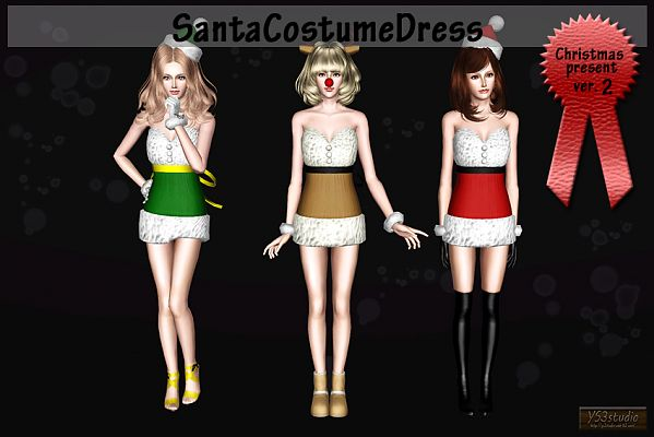 Sims 3 dress, cloth, clothing, Santa