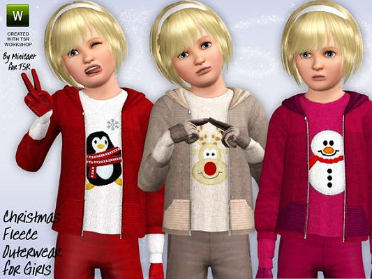 Sims 3 top, jacket, fleece, snowflake