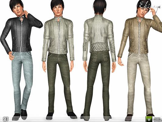 Sims 3 leather, jacket, denim, pants