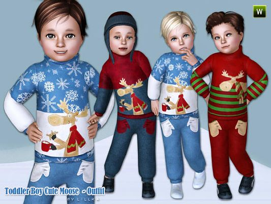 Sims 3 cloth, clothes, christmas, moose, outfit