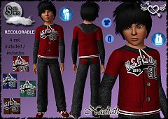 Sims 3 hoodie, print, male, children, clothing