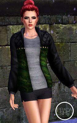 Sims 3 top, jacket, army, outwear