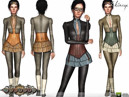 Sims 3 outfit, set, steampunk